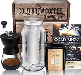 Cold Brew Coffee Maker Starter Kit - Half Gal Mason Jar | Stainless Filter Basket | Ceramic Burr Coffee Grinder | Half Pound Certified Organic Whole Bean Cold Brew Coffee Blend | Recipe & Instruction Book