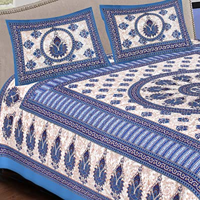 DOLLIFI Cotton Printed Jaipuri Queen Size Bedsheet/Bed Cover with Pillow Covers- Multicolor, 90x100