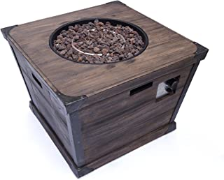 """Christopher Knight Home Delaney Outdoor Square Firepit - 40,000 BTU, 32"""", Brown"""