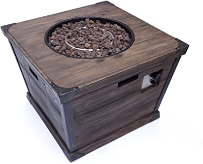 "Christopher Knight Home Delaney Outdoor Square Firepit - 40,000 BTU, 32"", Brown"