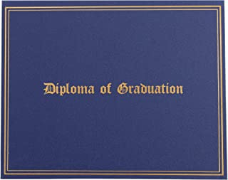 Certificate Holder - Diploma Cover with Diploma of Graduation Gold Foil Imprint, Document Cover for Letter-Sized Award Certificate, 4 Corner Ribbons, Navy Blue with Silver Interior, 11.5 x 9 Inches