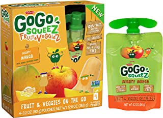 GoGo squeeZ Fruit & VeggieZ, Apple Mango Butternut Squash, 3.2 Ounce Portable BPA-Free Pouches, Gluten-Free, 4 Total Pouches