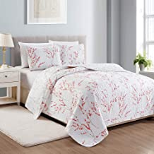 Great Bay Home Sakura Collection 3 Piece Quilt Set with Shams. Reversible Floral..