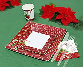 Christmas Disposable Dinnerware and Holiday Party Bundle for 120 Guests, 840 Pieces Set of Dinner Plates, Salad Plates, Paper Cups, Paper Napkins, Plastic Forks and Knives.