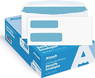 500#10 Double Window Security Business Mailing Envelopes - for Invoices, Statements and Legal Documents - GUMMED Closure, ...