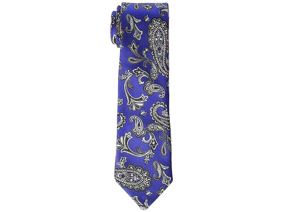 Etro 8 cm. Paisley/Plaid Double Face Tie (Blue) Ties