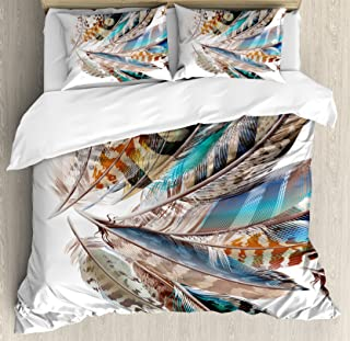 Ambesonne Feathers Duvet Cover Set, Vaned Types and Natal Contour Flight Bird Feathers and Animal Skin Element Print, Decorative 3 Piece Bedding Set with 2 Pillow Shams, King Size, Teal Brown