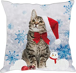 Hexagram Christmas Snowman Cat Throw Pillow Covers Cushion Cases Winter Decorative Pillowcases for Couch,18