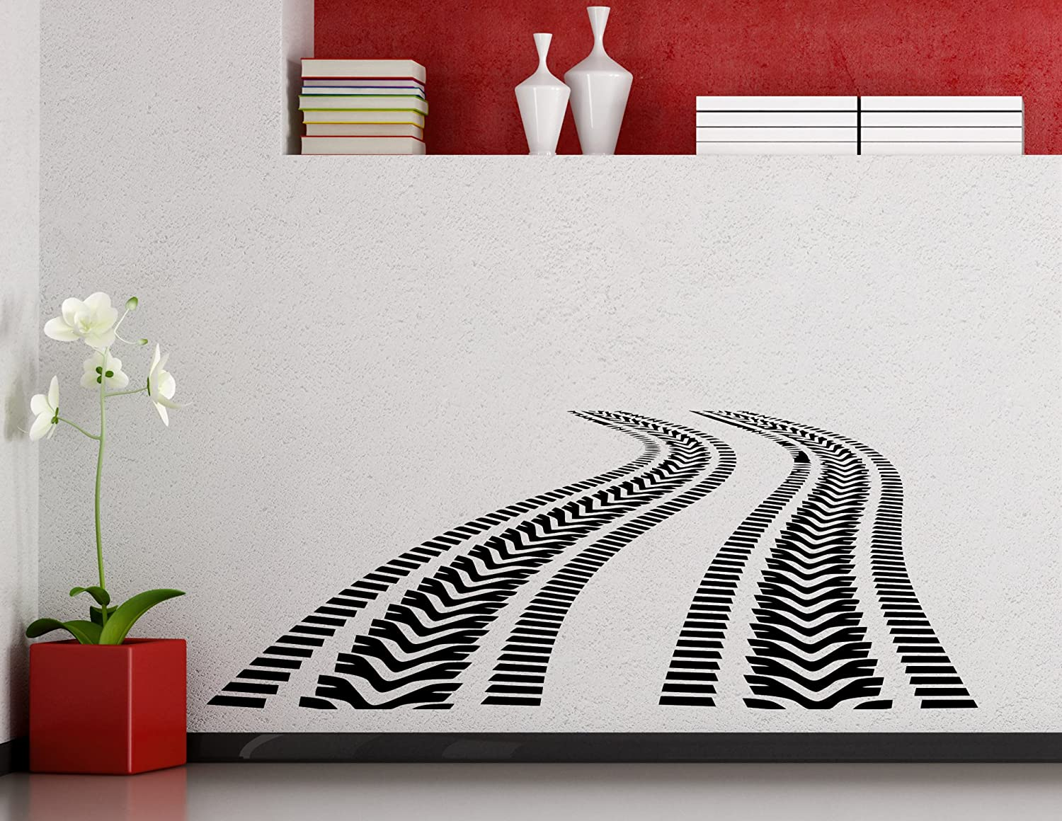 Tire Tracks Attention brand Wall Decal Car Long Beach Mall Road Vinyl Garage with of Traces