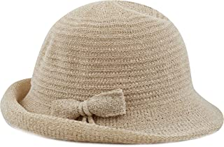 af4876c4f8eaa THE HAT DEPOT Women s Back Flip Brim Cloche Bucket Hat with Ribbon Accent