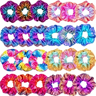24 Pieces Shiny Metallic Scrunchies Hair Scrunchies Elastic Hair Bands Scrunchy Hair Ties Ropes for Women or Girls Hair Accessories, Large (Color 2)