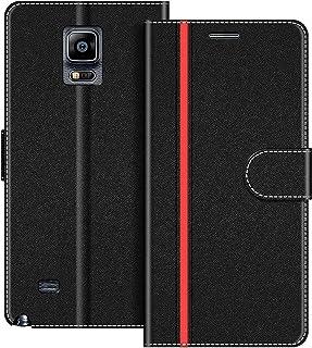 COODIO Funda Samsung Galaxy Note 4 con Tapa, Funda Movil Samsung Note 4, Funda Libro Galaxy Note 4 Carcasa Magnético Funda para Samsung Galaxy Note 4, Negro/Rojo