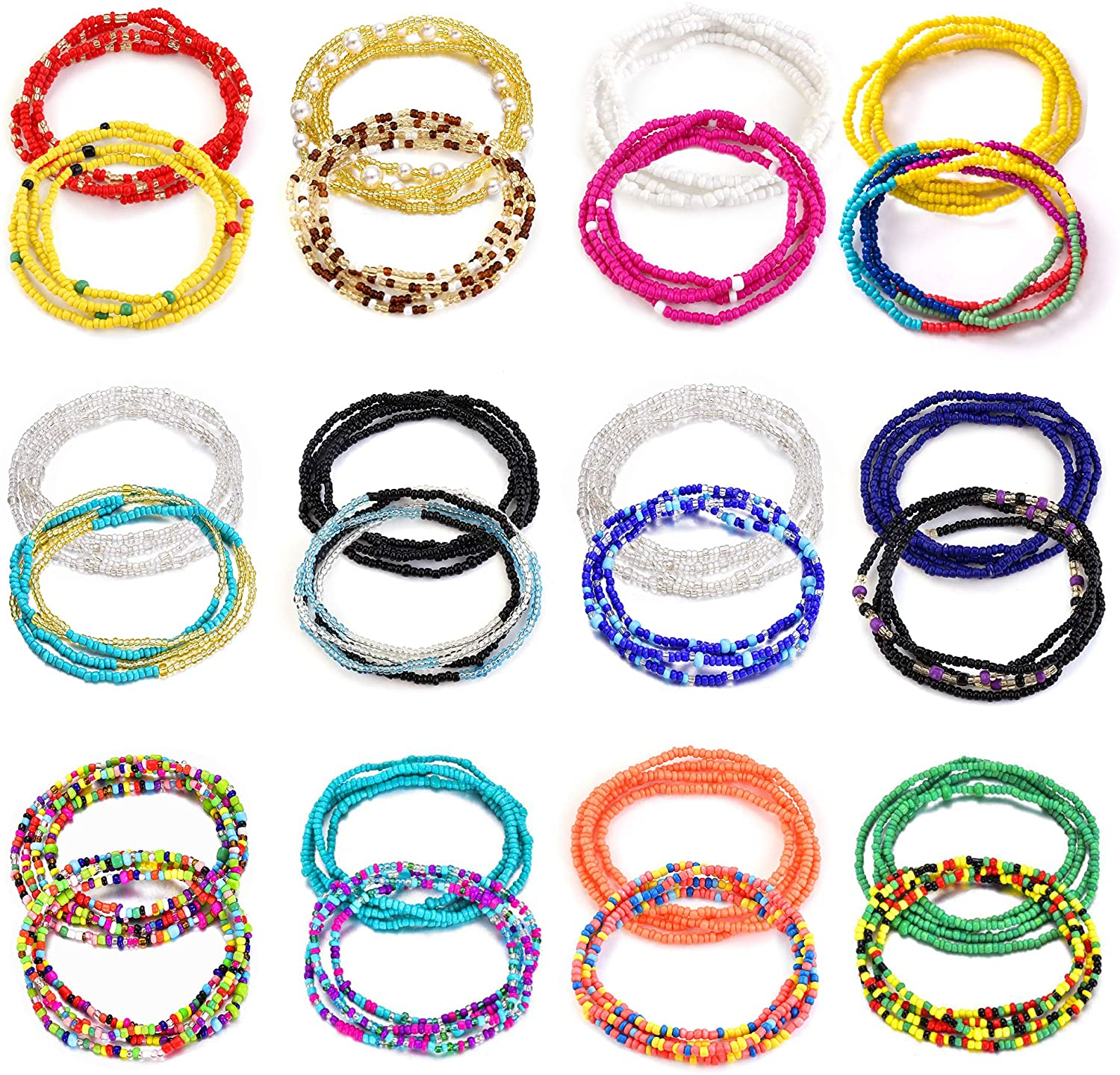TOBENY 24PCS Waist Bead Chains for Women Colorful Summer Body Chains Belly Beads Bikini Jewelry Chains Bead Waist Chains Set