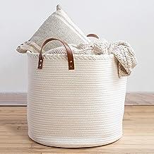 "XXL Premium Cotton Rope Basket 18""x18""x16"" - Big Basket for Blankets Living Room – Woven Laundry Basket- White Basket - La..."