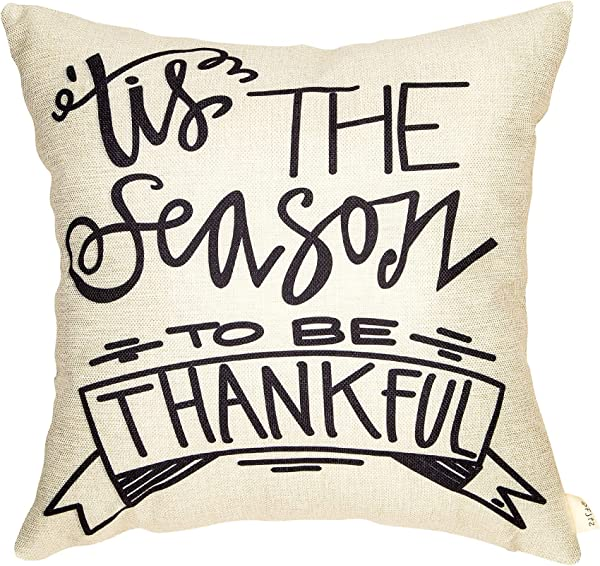 Fjfz Rustic It S The Season To Be Thankful Fall Harvest Sign Thanksgiving Day Decor Cotton Linen Home Decorative Throw Pillow Case Cushion Cover With Words For Sofa Couch 18 X 18
