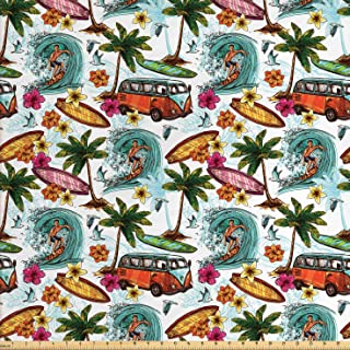 Ambesonne Ocean Fabric by The Yard, Hawaiian Surfer on Wavy Deep Sea Retro Style Palm Trees Flowers Surf Boards Print, Decorative Fabric for Upholstery and Home Accents, 2 Yards, White Teal