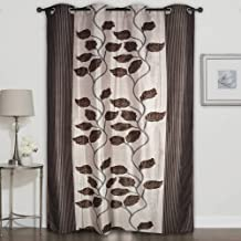 Homely Eyelet Leaves Polyester 7 ft Door Curtain -Brown