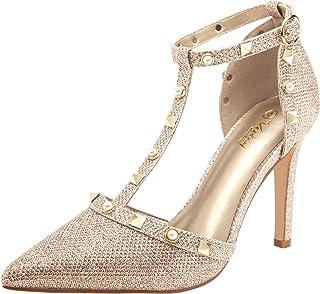 VOSTEY Women Pumps Rivet High Heels T-Strap Pumps for...