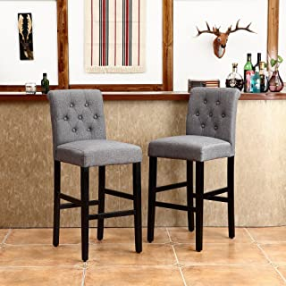 LSSBOUGHT Set of 2 Button-Tufted Fabric Barstools Dining High Counter Height Side Chairs (Seat Height: 30 inches, Gray)