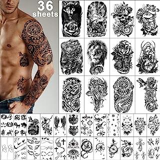 برچسب های خال کوبی موقت Yazhiji 36 برگ ، خال کوبی شانه سینه بازوی بدن 12 ورق برای مردان و زنان با 24 برگ خال کوبی های مشکی کوچک.