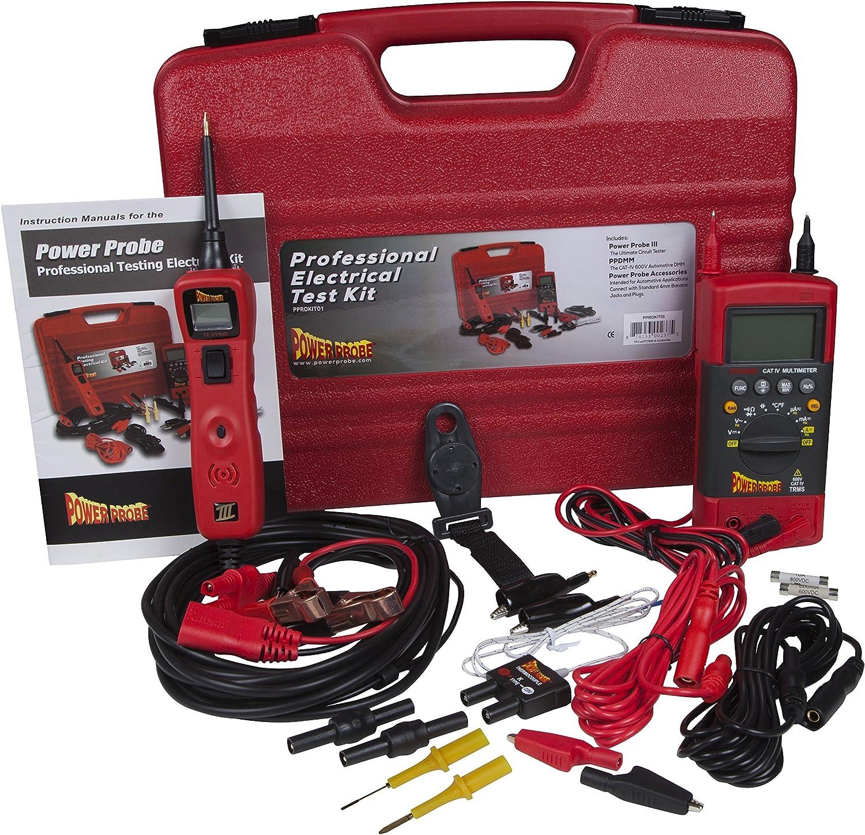 POWER PROBE Kit de Prueba eléctrica Profesional - Red (PPROKIT01) Inc. Power Probe III con PPDMM y Accesorios [Medidas Resistencia, Corriente y frecuencia]