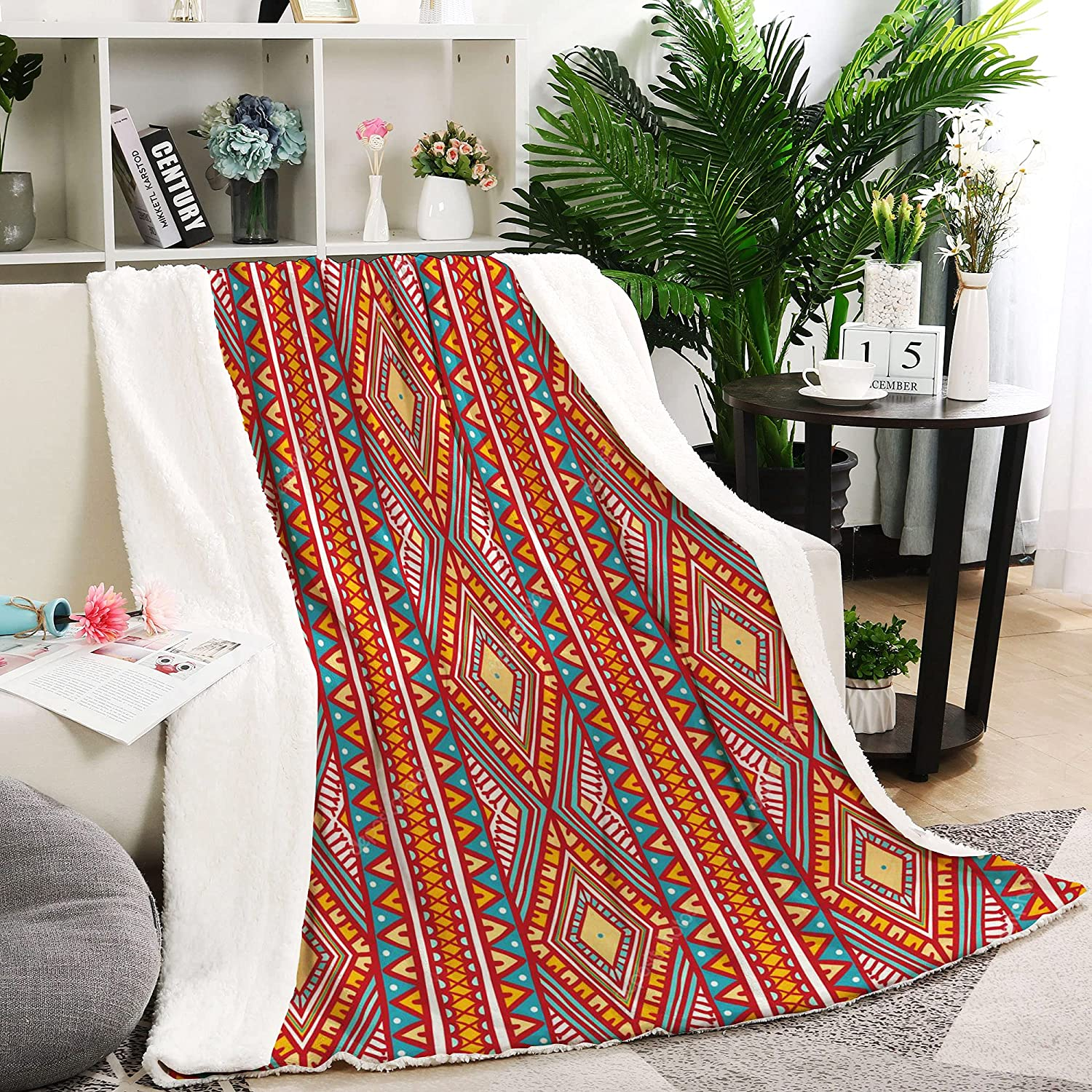JLLIFE Charlotte Mall Boho Throw Blankets Sherpa Excellence Blanket Ultra-Soft Cozy