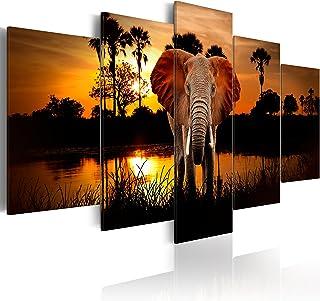murando - Cuadro en Lienzo 100x50 - Impresión de 5 Piezas Material Tejido no Tejido Impresión Artística Imagen Gráfica Decoracion de Pared Paisaje frica Animal Elefante g-C-0024-b-m