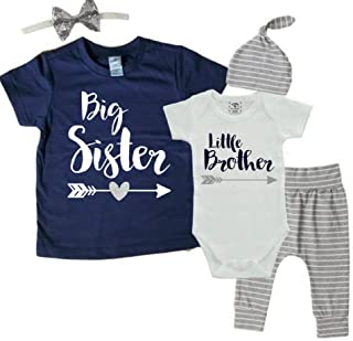 Big Sister Little Brother Matching Set - Little Brother Outfit 0-3M and Big Sister Shirt 4T