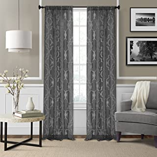 "Elrene Home Fashions Montego Burnout Trellis Sheer Window Curtain Panel, 52"" x 84"" (1, Black"