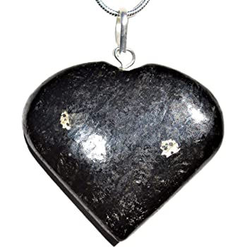 Zenergy Gems Charged Natural Himalyan Snowflake Obsidian Heart Pendant 20 Silver-Plated Snake Chain /& Selenite Charging Crystal