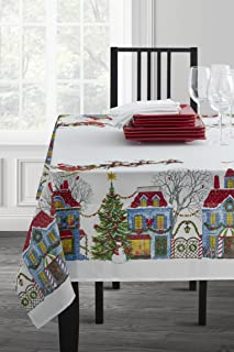 Benson Mills Christmas Village Fabric Printed Tablecloth (60 x 144)