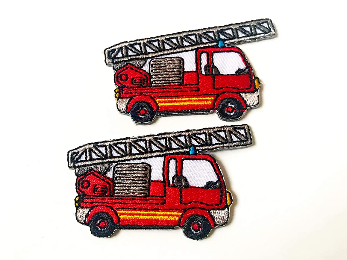 Tyga_Thai Brand Set 2 pcs. Mini Red Fire Truck Cute Cartoon Logo DIY Sew on Iron on Embroidered Applique Patch Store (Iron-FIRE-Truck-Cartoon)