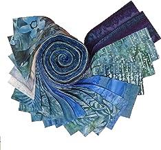 "20 2.5/"" Pre Cut Jelly Roll Quilt Quilting Strips 100/% Cotton Batik Blues"