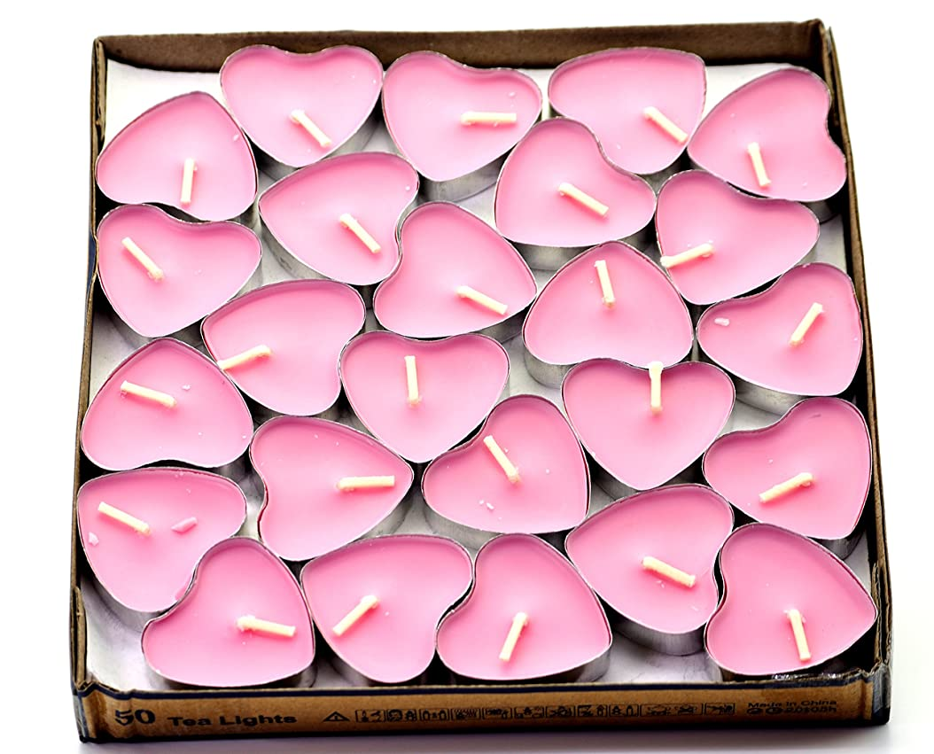 驚き実際法的(Pink(rose)) - Creationtop Scented Candles Tea Lights Mini Hearts Home Decor Aroma Candles Set of 50 pcs mini candles (Pink(Rose))
