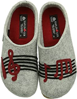 HAFLINGER Unisex Wool Felt Clogs Grizzly Music, Stone Gray