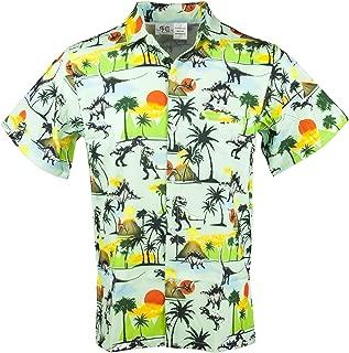 Mens Hawaiian Print Button Down Shirt