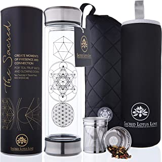 The Sacred Glass Tea Infuser Bottle + Strainer for Loose Leaf, Herbal, Green or Ice Tea...