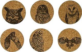 Corkology (411) Owls Coaster Set, Cork