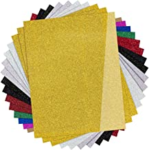 """Glitter HTV Vinyl for T-Shirts,15 Pack - 12""""x 10"""" Sheets 9 Assorted Colors, Glitter Heat Transfer Vinyl for Cricut and Silhouette Cameo by JANDJPACKAGING"""