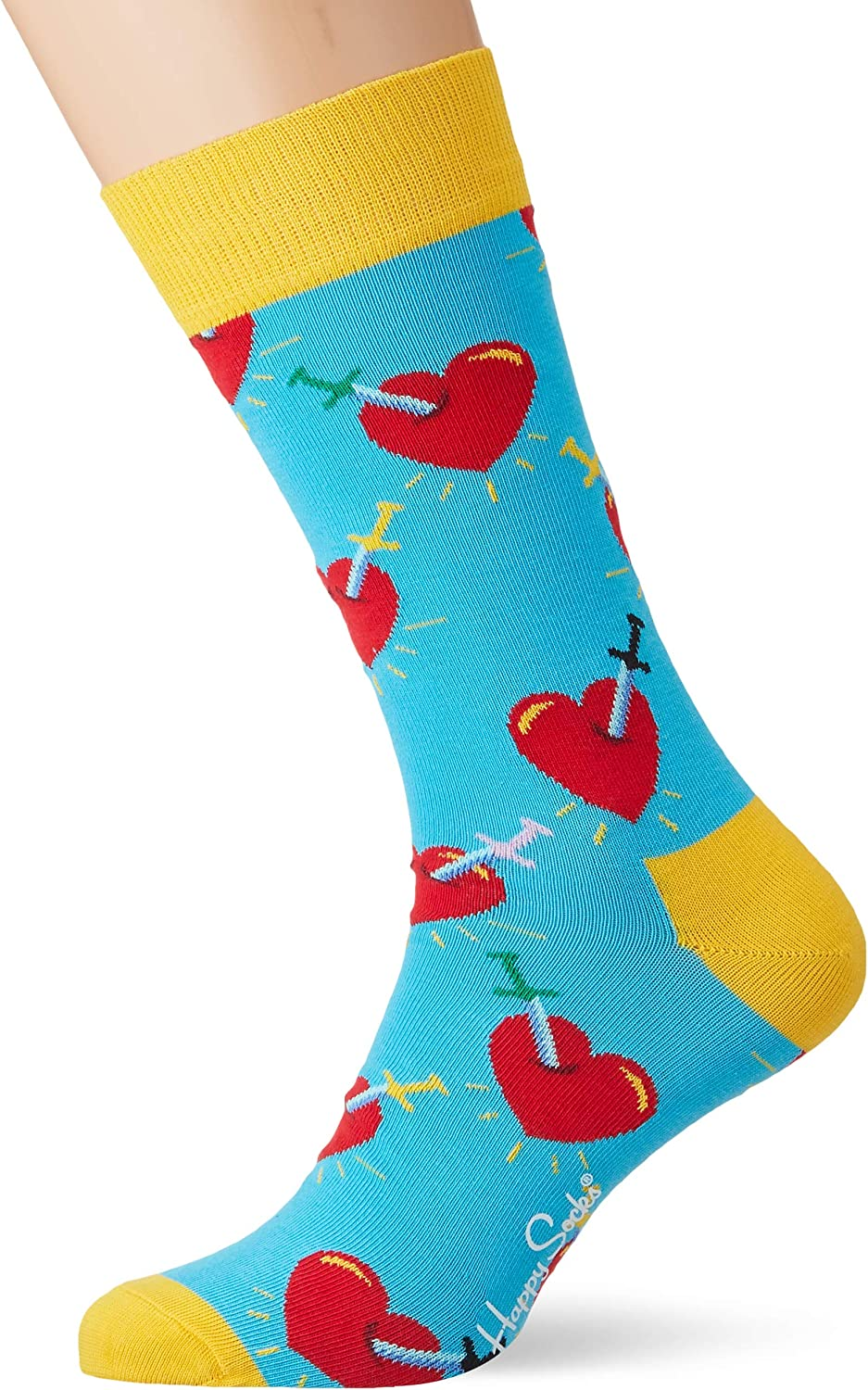 Happy Socks Broken Heart Courier shipping free Blue Blu Ranking integrated 1st place red Medium Large yellow