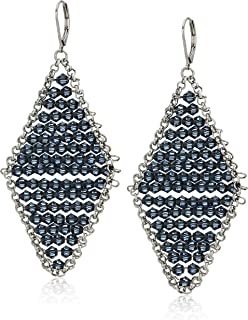 Kenneth Cole Woven Blue Faceted Bead Kite Drop Earrings, One Size