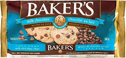 Baker's Chocolate Chips, Milk Chocolate, 300g (Pack of 12)