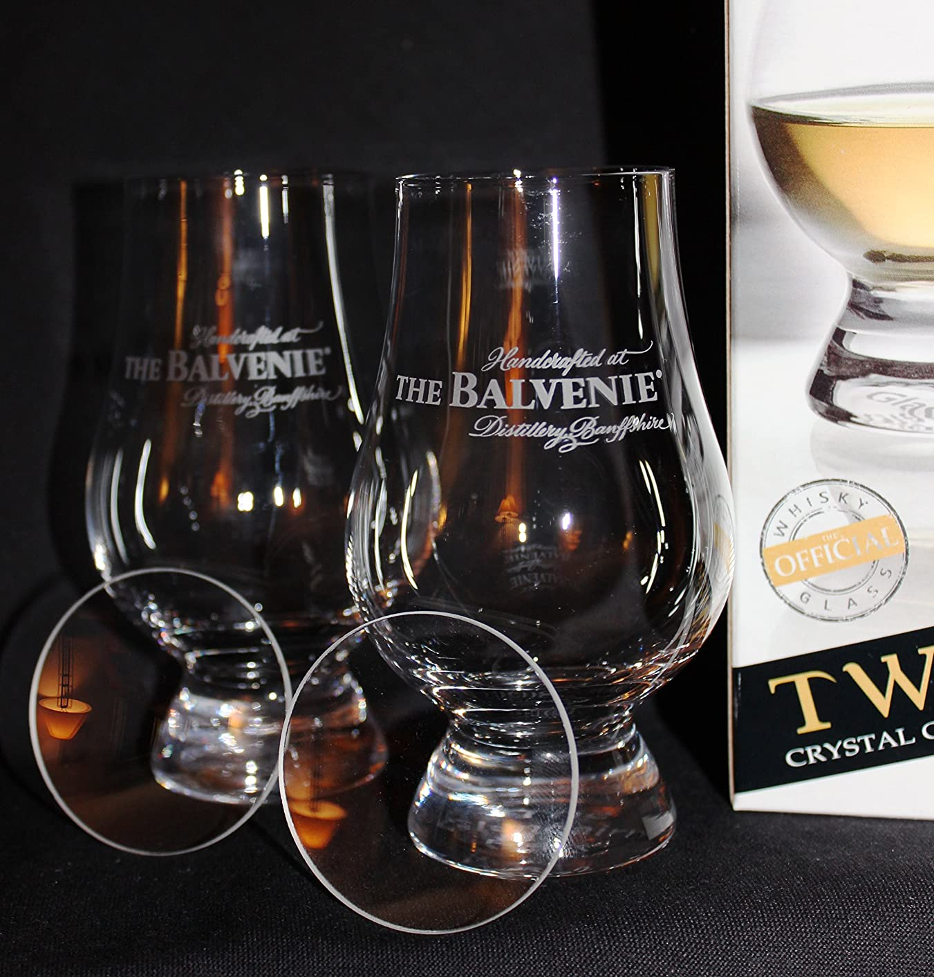 BALVENIE LOGO TWIN PACK GLENCAIRN SCOTCH WHISKY TASTING GLASSES WITH TWO WATCH GLASS COVERS