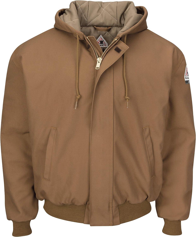 Bulwark Men's Popular quality assurance standard Brown Duck Hooded with Jacket Knit Trim