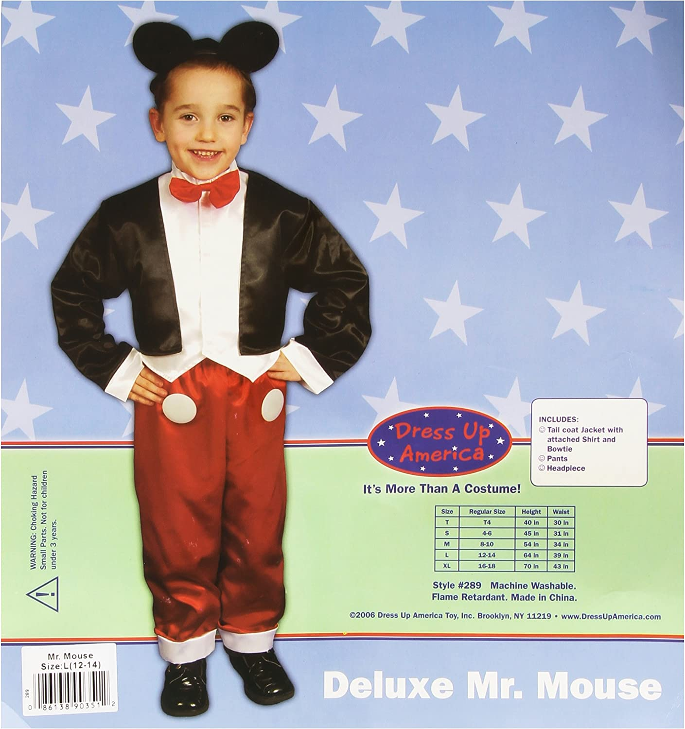 (1214 years)  Dress Up America Deluxe Mr. Mouse Costume Set Large 1214 289L