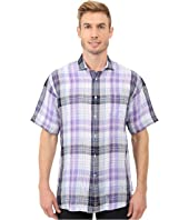 Thomas Dean & Co. - Short Sleeve Woven Linen Plaid
