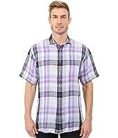 Thomas Dean & Co. - Short Sleeve Woven Linen Plaid