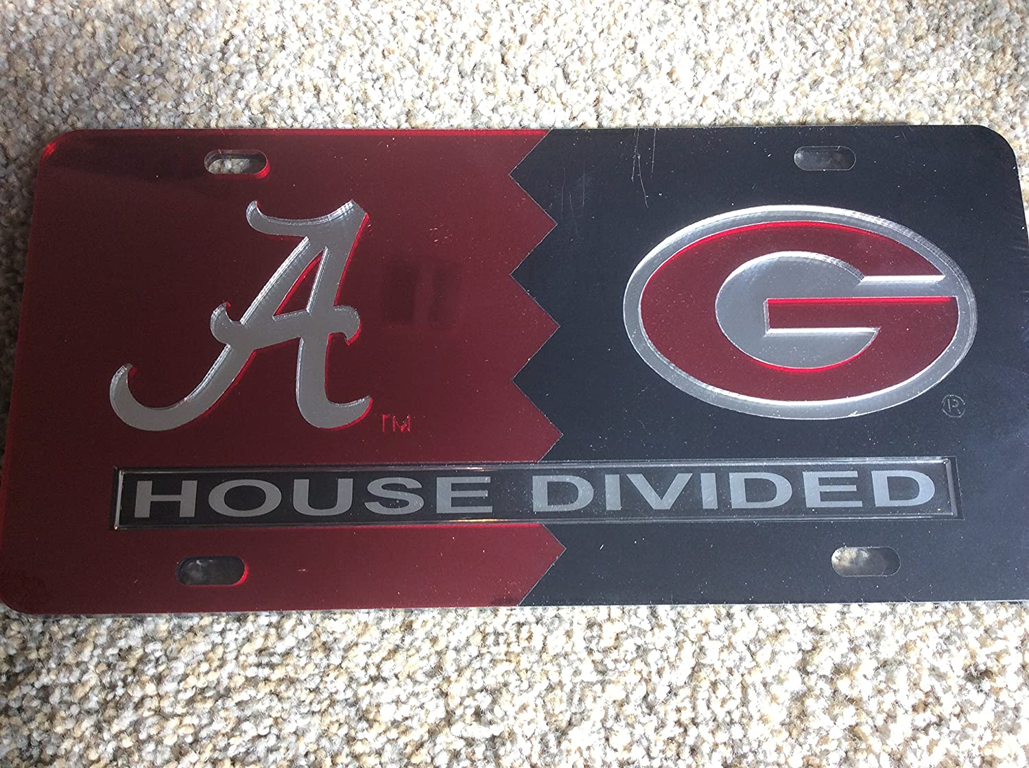 University of Alabama University of Georgia House Divided Laser Cut License Plate Tag