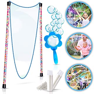 BIGBUA Giant Bubbles For Kids – Complete Fun Bubble Making Set. The Perfect Outdoor Toys for the Entire Family. 3-Piece Set Incl. Bubble Wand, Mini Hoop and Mixing Powder