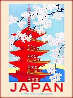 A SLICE IN TIME Japan Japanese Government Railways Cherry Blossoms and Pagoda Vintage Railroad Advertisement Travel Poster. Poster measures 10 x 13.5 inches